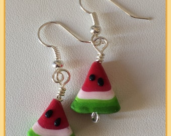 Summer Watermelon Slice Polymer Clay Dangle Earrings