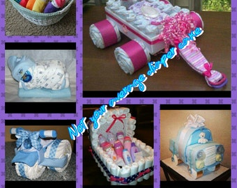 diaper cakes and more small,  medium,  & large