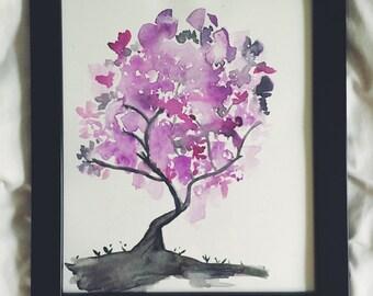 Purple Budded Tree Watercolor