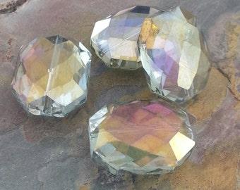 4 Large Octagonal Glass Crystal Beads, Silver Rainbow, AB Finish, 20.5x16x11mm