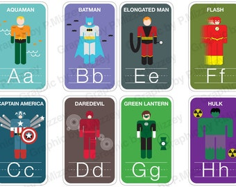LARGE - Superhero Flash Cards