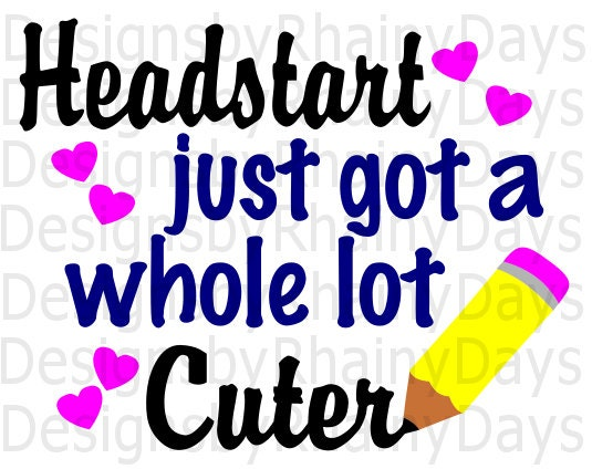 Buy 3 get 1 free! Headstart just got a whole lot cuter cutting file, SVG, DXF, png, headstart, back to school design, cute, girl