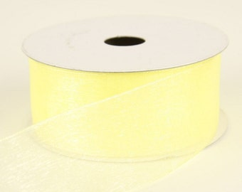 2.5 inch Wired, Sheer Yellow Ribbon ~ Chiffon Ribbon ~ Craft Ribbon ~ 5 Yards