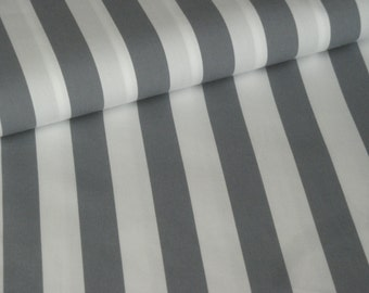 Cotton fabric striped grey white