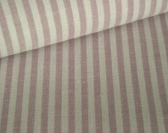 Cotton fabric mauve with white stripes