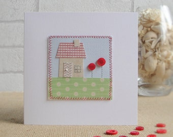 Handmade New Home Card, Personalised Moving House Card, Machine Stitched Happy New Home Card, Housewarming Card