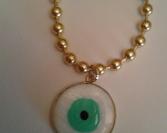 Military chain necklace with Turkish eye