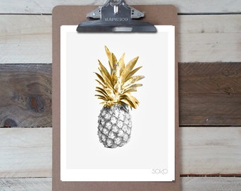 Table photo printd Notepad ' a pineapple black / gold