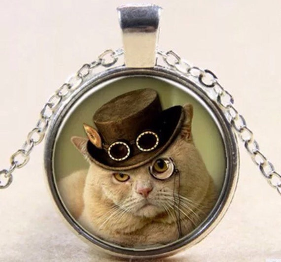 Cat in Hat Pendant Necklace