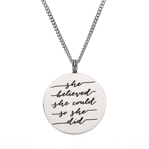 """Stainless Steel """"She Believed She Could So She Did"""" Inspirational Pendant"""