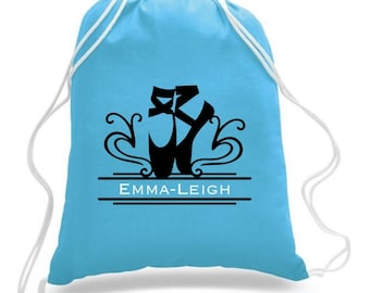 Drawstring BAG CUSTOM Dance Personalized Dancer Ballet Many COLORS available