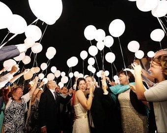 100 in one pack Romantic white LED Light Up Birthday Wedding Party Latex Balloon for parties wedding bridal shower US Seller and valentines
