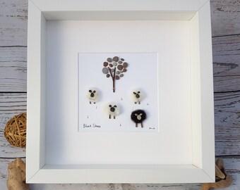Made to Order - Pebble Art - Pebble Picture - Farming Art - Wall Art - Family Gift - Christmas gift - Modern Art - Animal Art - Sheep Art