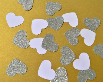 White and Silver Heart Confetti Wedding Confetti First Birthday Party Sweet 16 White Silver Wedding Bridal Shower Bridal Brunch Party Decor