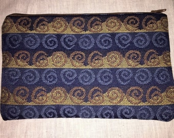 Blue and Brown Swirl Pouch