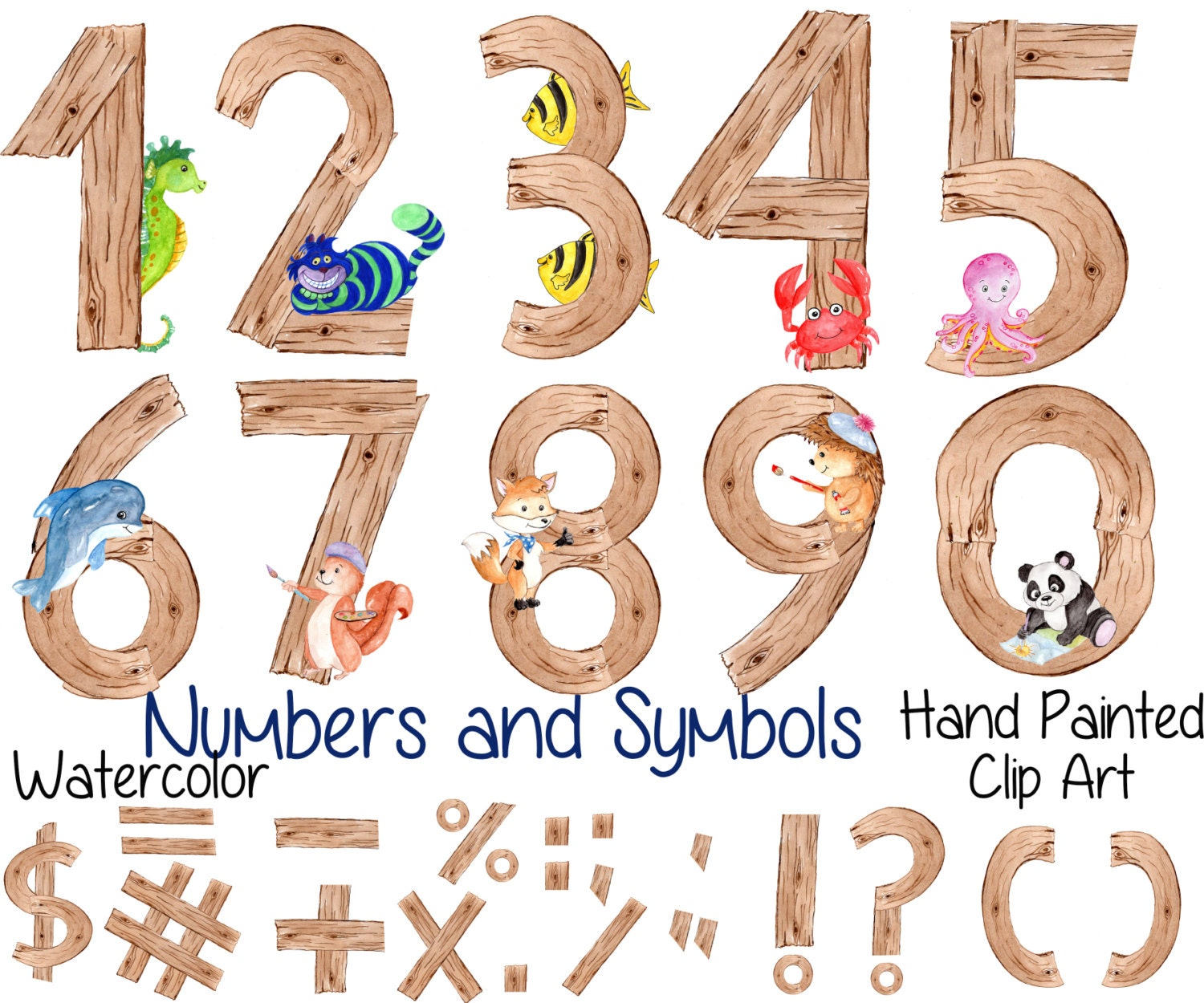 """Watercolor kids numbers clipart: """"WOOD NUMBERS CLIPART ..."""
