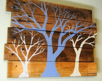Rustic Trees Pallet Painting