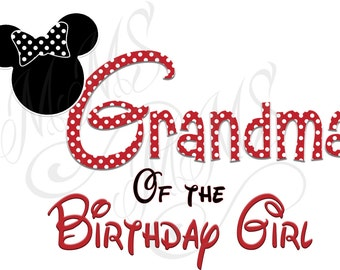 Grandma Minnie Mickey Mouse Mom Birthday Girl Shirt DIY Iron On Digital Art Little Sister Matching Red Black Dot Birthday Pregnancy