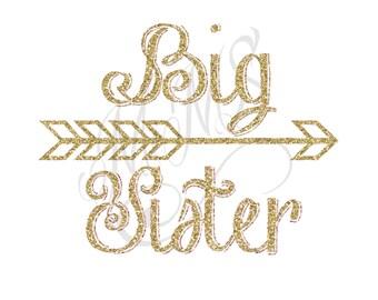 Big Sister Shirt DIY Iron On Digital Art Little Sister Matching Pink Gold Pregnancy Announcement