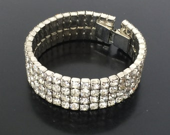 SALE!  Beautiful Rhinestone Bracelet Clear Stones from the 1950s
