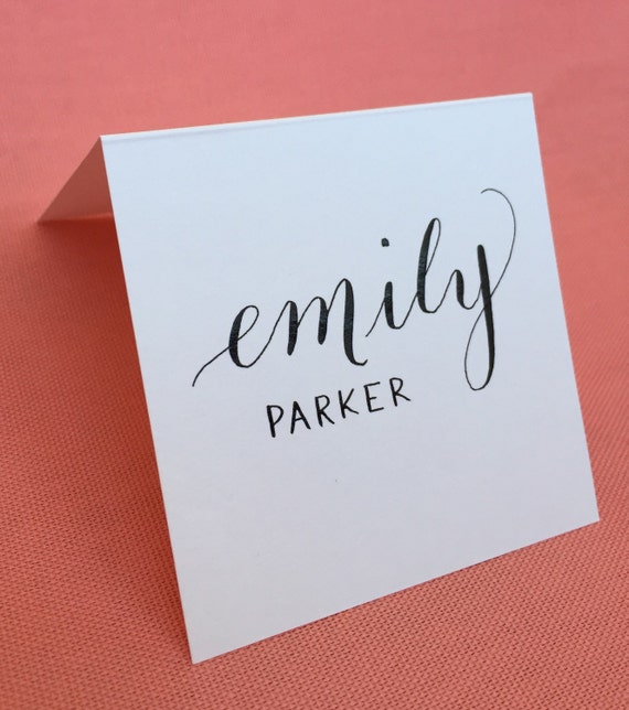 Wedding calligraphy place card modern