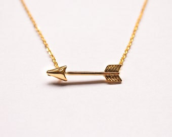 Arrow Necklace - Gold-Plated Necklace - Boho Jewellery - Minimalist - Simple - Gift for Her - Sideways Arrow - Wedding - Bridemaids