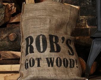 Personalised 'GOT WOOD' hessian sack
