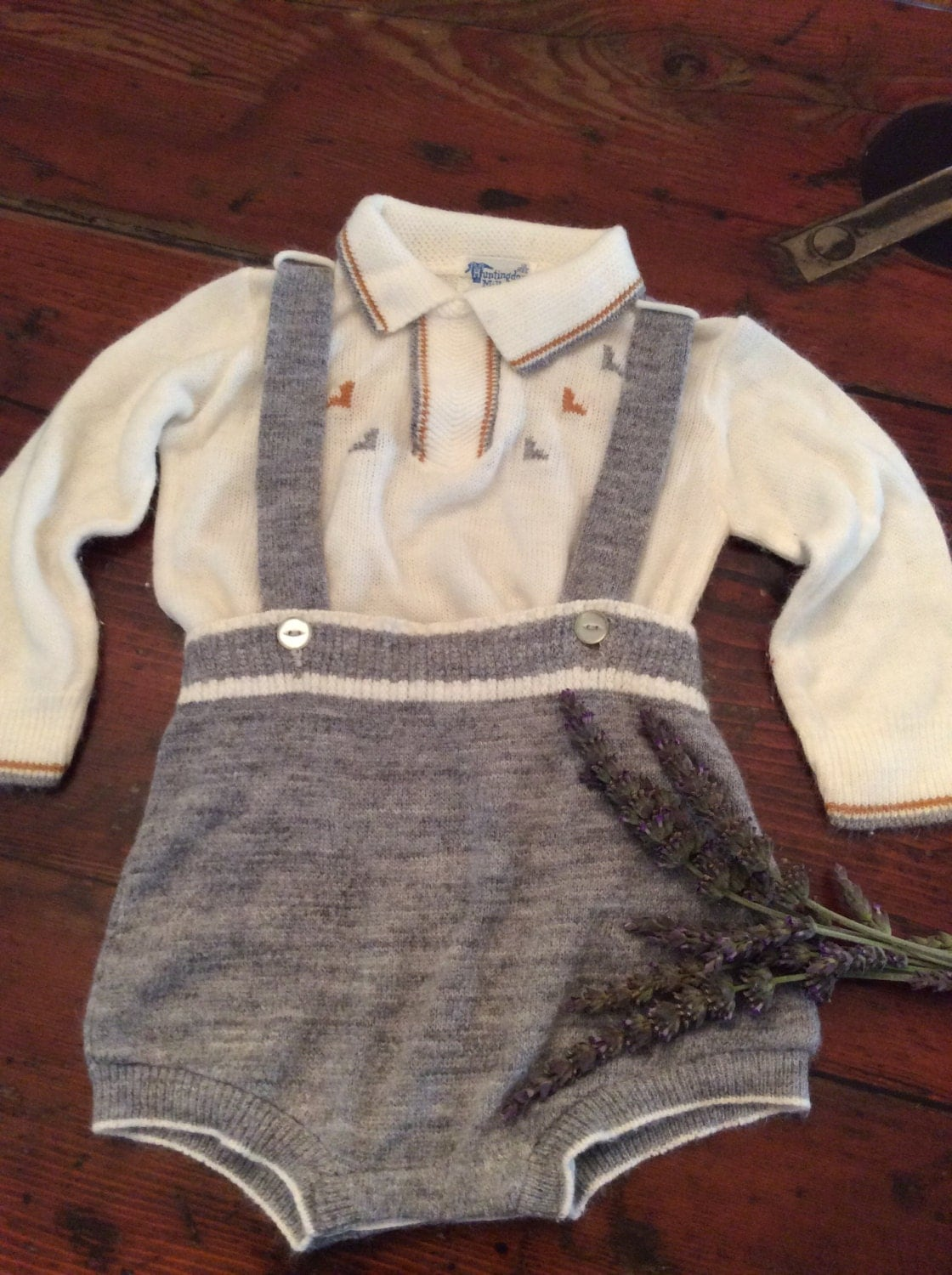 Vintage Baby Clothes 1950's Red Plaid Baby Boy Suit  |1950 Baby Stuff
