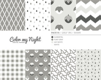 80% OFF SALE Digital Paper Neutral 'Pack01' Chevron, Gingham, Drops, Fruits, Crosshatch & Abstract Backgrounds for Scrapbook, DIY Crafts...