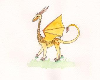 The Giraffagon - An original illustration - Approx 13x11cm