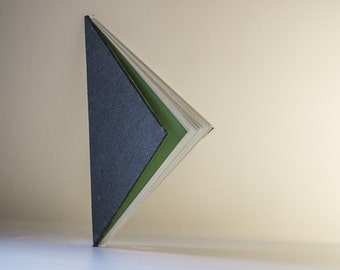 Triangle Hardcover Journal- Black with Exposed Spine - Handmade