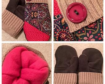 Handmade floral mittens