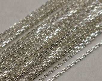 Sterling Silver Chain by the Foot, 5 FEET - 1.0x1.45mm Multi-Cut Link Micro Cable chain, Flat Chain, Chain for jewelry 925 Sterling silver