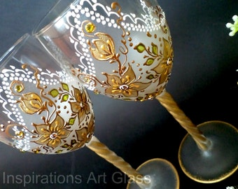 Gold Wine Glasses Champagne Glasses Gold Wedding Glasses Hand Painted Set of 2 Wedding gift Gold Anniversary gift Glass art