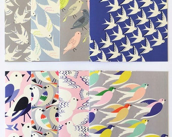 Gift set of cards / 8 Bird cards / Set of greetings cards/ illustration's / Stationary / UK printed.