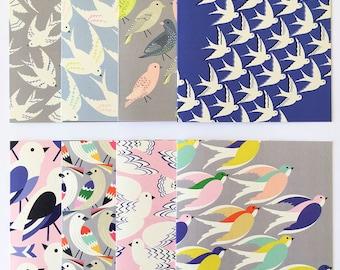 Gift set of 8 bird print cards / Set of greetings cards / Bird illustration's / Stationary / UK printed.