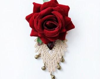 Flower brooch, brooch, red rose brooch, handmade vintage brooch, red rose pin, brooch pin, antique brooches, vintage jewelry, rose pin,OB-94