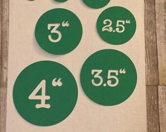 """Green 50 Circles 4"""" Die Cuts"""