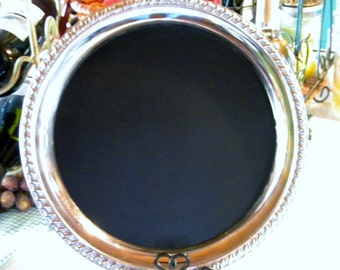 Silver Chalkboard Tray/Serving Tray/Wedding/Upscale/Anniversary/Message Board/Round Tray