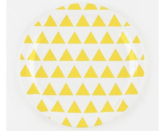 8 Paper Plates with Yellow Triangles.