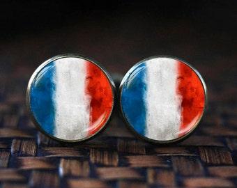 French Flag cufflinks, France cufflinks, France Patriotic gift, French cuff links, French gift,