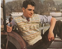 Vintage Knitting Pattern Man's Fair Isle Slipover Pullover 1940's 3 Ply Stitchcraft PDF Instant Download
