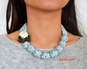 Rose Fabric handmade necklace, baby blue colour textile necklace
