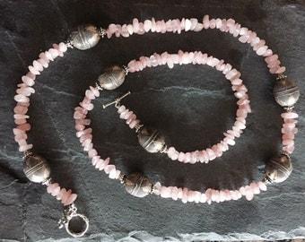 Rose Quartz and Bali Silver Single Strand