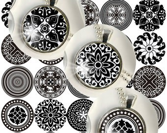 Black and White Mandalas Digital Collage Sheet /you will get it in 3 sizes/ circle  Pendant Printable Download jewelry making