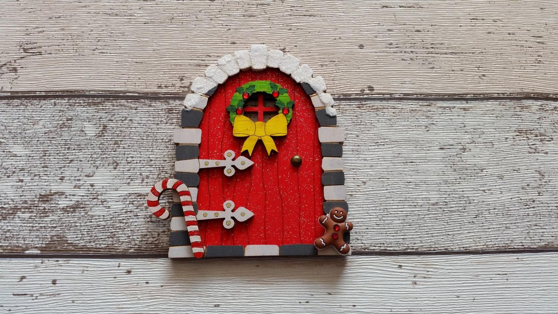 Elf fairy christmas door fairy door elf door red for Red elf door