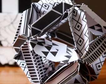 Origami ball - Black and white geometric patterns