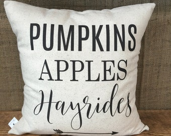 Pumpkins, Hayrides and Apples Pillow Cover