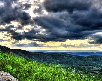 Shenandoah Valley, Skyline Drive, Virginia, Mountains, Blues, Greens, Grays, Landscape