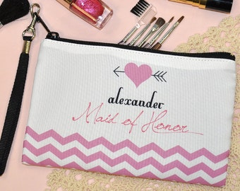 Maid of Honor Gift, personalized cosmetic bag, gift for women, Wristlet, Wedding Party Gift